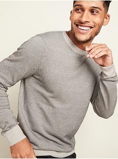 Birdseye-Pattern Crew-Neck Sweater for Men