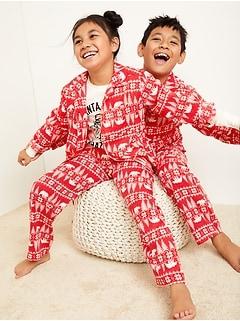 Patterned Gender-Neutral Flannel Pajama Set for Kids