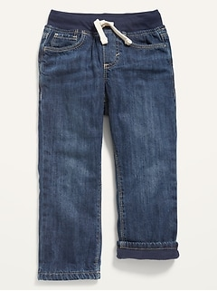 Cozy-Lined Rib-Knit-Waist Jeans for Toddler Boys