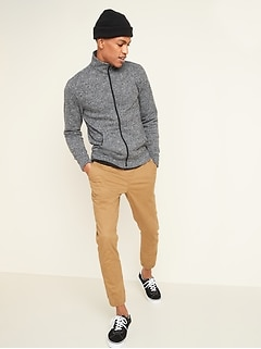 Sweater-Fleece Zip-Front Mock-Neck Sweatshirt for Men