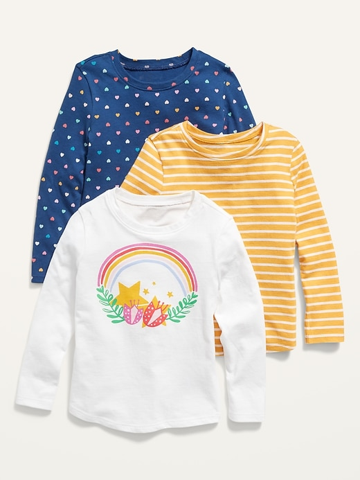 Long-Sleeve Scoop-Neck Tee 3-Pack for Toddler Girls