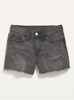 Non-Stretch Cotton Cut-Off Black Jeans for Girls