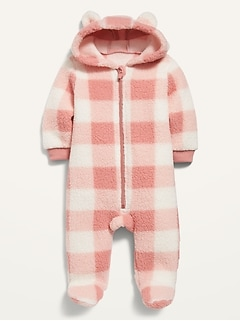 Unisex Plaid Sherpa One-Piece for Baby