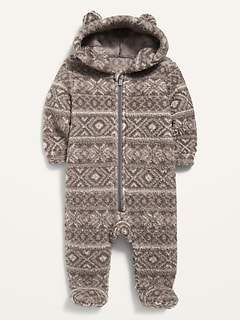 Unisex Fair Isle Sherpa Critter One-Piece for Baby