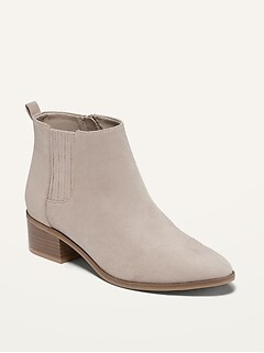 Water-Repellent Faux-Suede Chelsea Boots for Women