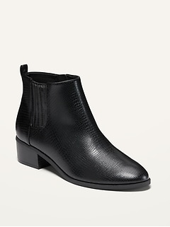 Water-Repellent Faux-Leather Chelsea Boots for Women