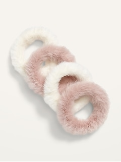 Faux-Fur Hair Ties 4-Pack for Girls