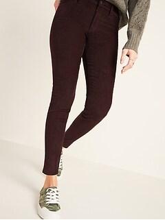 Mid-Rise Rockstar Super Skinny Pop-Color Corduroy Pants for Women
