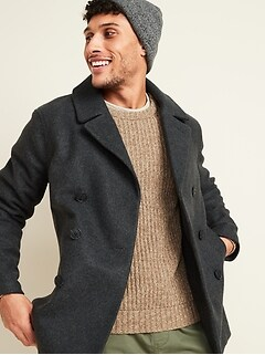 Soft-Brushed Peacoat for Men