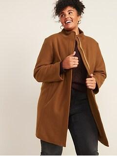 Manteau surdimensionné brossé à col entonnoir, tailleforte
