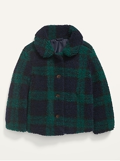 Unisex Sherpa Button-Front Coat for Toddler
