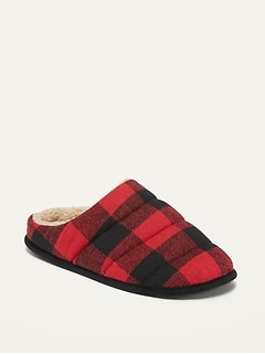 Cozy Quilted Buffalo Plaid Flannel Slippers for Men