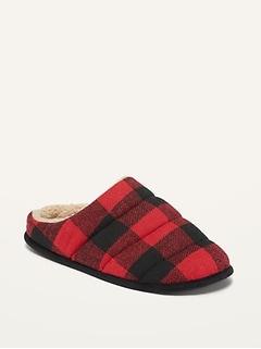 Pantoufles de flanelle matelassées et confortables à grands carreaux pour homme