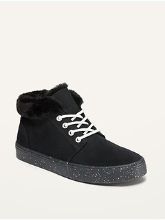 Glitter-Sole Canvas Mid-Top Sneakers for Girls