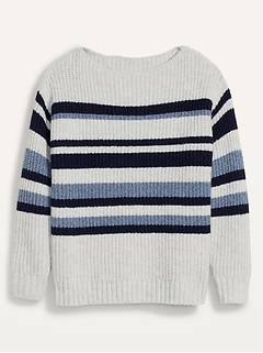 Slouchy Cozy Striped Plus-Size Boat-Neck Sweater