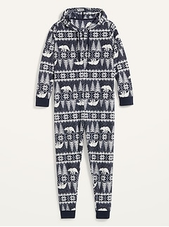 Patterned Micro Performance Fleece Hooded Plus-Size One-Piece Pajamas