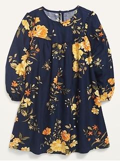 Robe trapèze à manches longues à fleurs pour toute-petite fille
