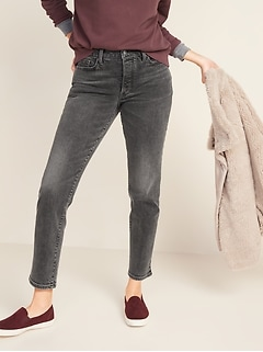High-Waisted O.G. Straight Ankle Gray Button-Fly Jeans for Women