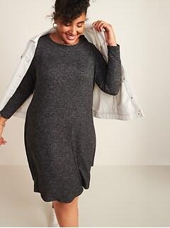 Plush-Knit Plus-Size Swing Dress