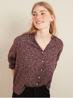 Oversized Printed Button-Front Blouse for Women
