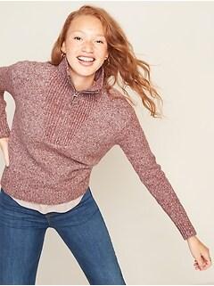 Mock-Neck 1/4-Zip Sweater for Women