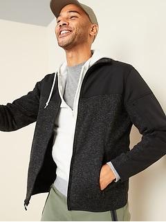 Veste hybride en tricot de molleton Go-Warm à glissière pour homme