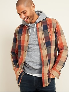 Veste-chemise en sergé à carreaux, coupe standard pour homme