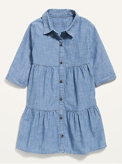 Tiered Chambray Shirt Dress for Toddler Girls