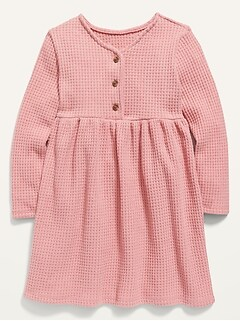 Fit & Flare Thermal Henley Dress for Toddler Girls