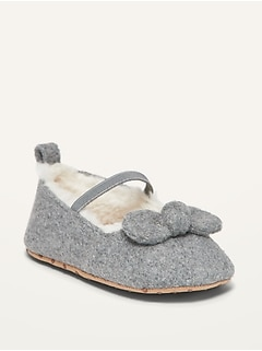 Unisex Sherpa-Lined Bow-Tie Ballet Flats for Baby