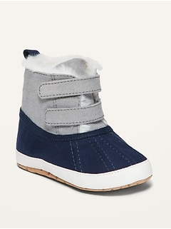 Cozy Color-Blocked Faux-Fur-Lined Snow Boots for Baby
