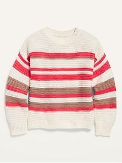 Textured Hi-Lo Split-Back Pullover Sweater for Girls