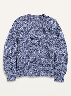 Textured Hi-Lo Split-Back Pullover Sweater for Girls