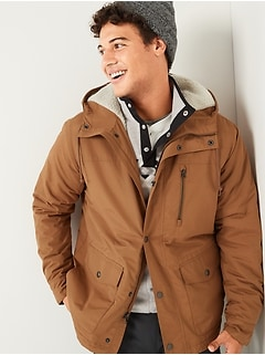 Water-Resistant Sherpa-Lined Hooded Jacket for Men