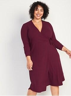 Rib-Knit V-Neck Plus-Size Midi Wrap Dress