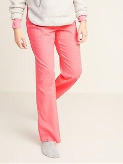 Textured Swiss-Dot Pajama Pants for Women