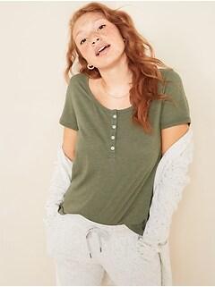 T-shirt henley décontractée à encolure échancrée pour femme