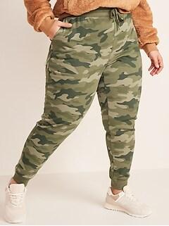 Pantalon d'exercice en jersey bouclette à imprimé à taille moyenne, taille forte
