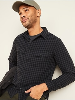 Regular-Fit Built-In Flex Patterned Flannel Shirt for Men