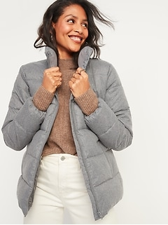 Frost-Free Textured Puffer Zip Jacket for Women