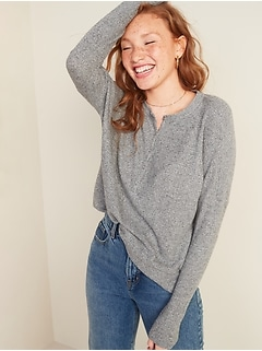 Relaxed Cozy Waffle-Knit Henley Tunic Top for Women