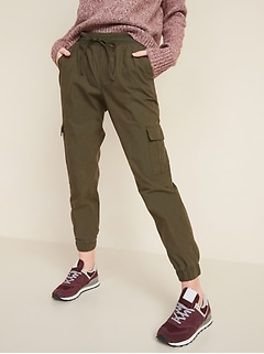 Mid-Rise Rib-Knit Waist Soft-Woven Cargo Jogger Pants for Women