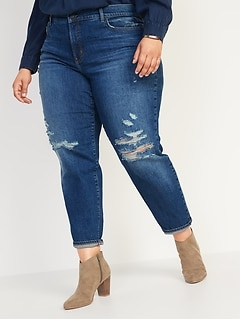 High-Waisted Secret-Slim Pockets O.G. Straight Plus-Size Ripped Jeans