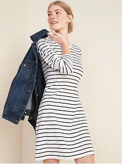 Fitted Striped Bracelet-Sleeve T-Shirt Dress for Women
