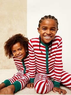 Graphic Gender-Neutral Henley One-Piece Pajamas for Kids