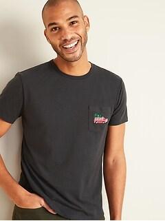 T-shirt ras du cou imprimé à poche au fini soyeux pour homme