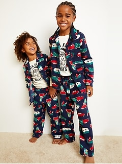 Patterned Gender-Neutral Flannel Pajama Set for Kids