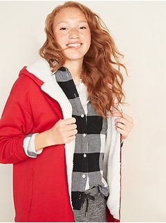 Cozy Oversized Sherpa-Lined Zip Hoodie for Women