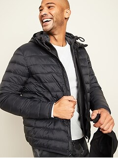Water-Resistant Hooded Narrow-Channel Puffer Jacket for Men