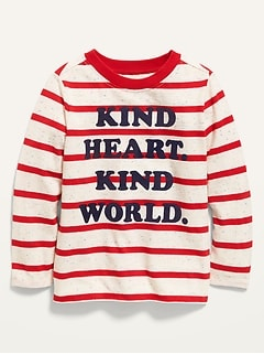 Unisex Valentine-Graphic Striped Long-Sleeve Tee for Toddler